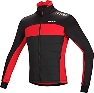 Santic Men's Cycling Jacket Winter Coat Windproof Thermal Long Jersey