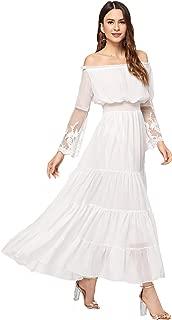 Milumia Women's Off Shoulder Lace Contrast Ruffle Mesh Sleeve Shirred High Waist Maxi Dress
