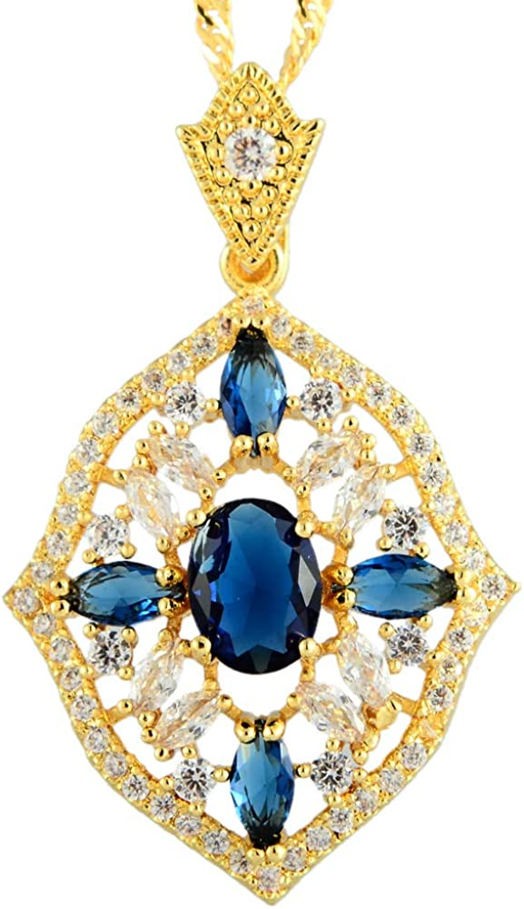RIZILIA Oval CubicZirconia 18K Yellow Gold Plated Slide Pendant Necklace Curb Chain