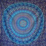 momomus Tapiz Mandala Indio - 100% Algodón, Grande, Multiuso - Pareo/Toalla de Playa Gigante - Manta de Picnic Ligera o Alfombra Antiarena XXL - Azul C, 210x230 cm