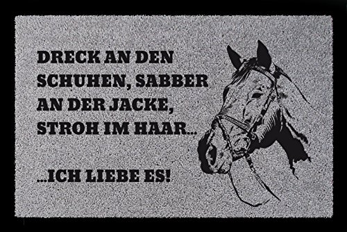 Interluxe FUSSMATTE Eingang Dreck AN DEN Schuhen Pferd Reiten Geschenk Spruch Hellgrau
