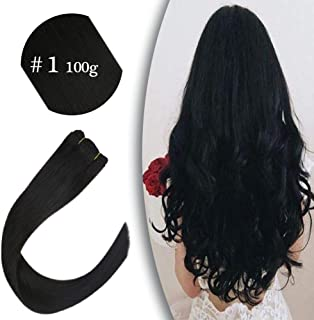VeSunny 16inch #1 Jet Black Human Hair Bundles Double Weft 100% Remy Human Hair Sew in Extensions Thick Straight Hair for Woman 100g/Set