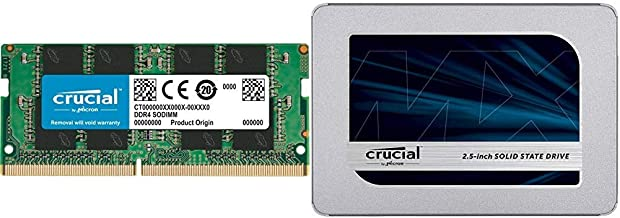 Crucial 16GB Single DDR4 2400 MT/s (PC4-19200) DR x8 SODIMM 260-Pin Memory - CT16G4SFD824A Bundle with Crucial MX500 500GB...