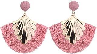Fan Shaped Tassel Earrings Women Exaggerated Big Statement Fringed Earrings Vintage Dangle Drop Earrings