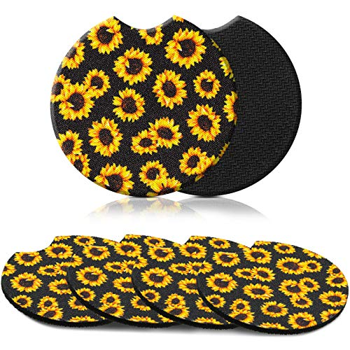 Leinuosen Car Coasters 2.56 Inch for Drink Absorbent Neoprene Car Coasters Removable Car Cup Holder for Women and Girls, Cute Car Auto Interior Accessories (4, Sunflower)