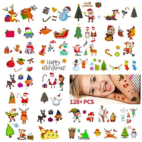 Christmas Temporary Tattoos Stickers,Christmas Decorations with Santa Claus Christmas Tree Socks Reindeer Gift Bags for Kids Christmas Party,Fun Christmas Holiday Tattoo for Kids(10 sheet)