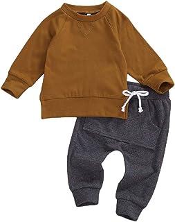 طقم ملابس للأطفال الرضع من الأولاد ملابس سادة بأكمام طويلة وسراويل برباط وبنطلون رياضي للخريف والشتاء