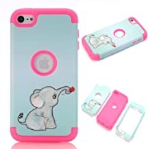 iPod touch 6 Case,iPod touch 5 Case,JMcase[Lovely Elephant Series](RoseRed)Full-body 3 IN 1 Bumper Protective Case Cover Fit for Apple iPod touch 5 6th Generation,Sent Stylus and Screen Protector