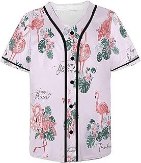 INTERESTPRINT Exotic Pink Flamingo Birds and Tropical Leaves Mens Baseball Jersey Shirt