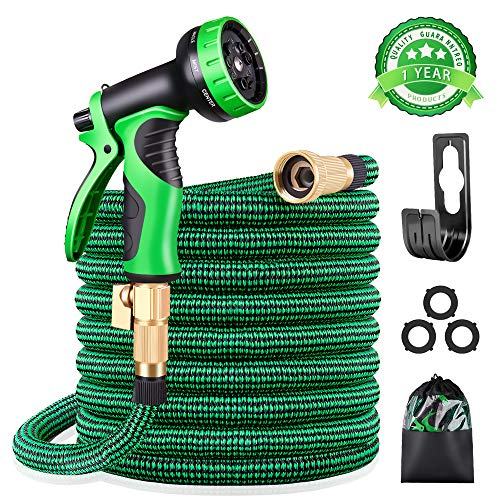 KURTVANA Expandable Garden Hose with 9 Function Nozzle,Durable Flexible Water Hose,3/4' Solid Brass Connectors,Extra Strength Fabric, Lightweight Expanding Hose(25ft+5ft)