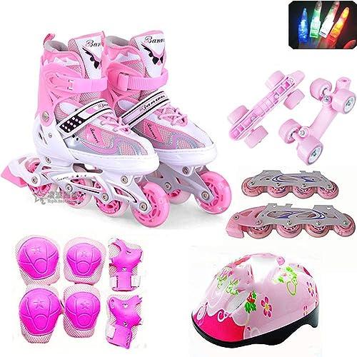 venta mundialmente famosa en línea Giow Juego Completo De Patines para para para Niños, zapatos con Ruedas para hombres Y mujeres Fila Simple Y Doble Rueda De PU.  colores increíbles