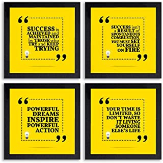 PnF® Set of 4 Motivational QUOTES-019-(28x28inch,Synthetic,Multicolour)
