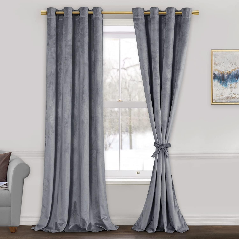price 5 popular ROSETTE Grey Velvet Curtains for Insualted Room - Living Thermal