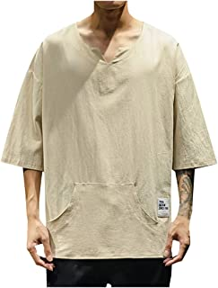 iSovze Large Size Mens Fashion Solid Color Cotton and Linen 3//4 Sleeve Shirt