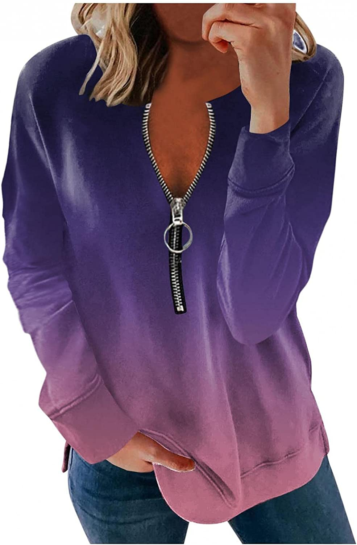 Womens Long Sleeve Tops,Women Casual Zip Up Hoodies Long Sleeve Crewneck Sweatshirts Pullover Loose Soft T-Shirts Tops