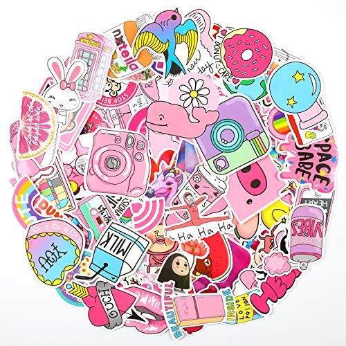EKKONG 100 Rosa Pezzi Kit Adesivi, Vsco Stickers Tumblr Vinyl Kawaii Decals per Bambini Adolescenti, Adulti, Laptop, Auto, Moto, Biciclette, Skateboard, Valigia