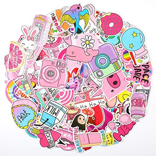 EKKONG Aufkleber Rosa, 100 Stücke Netter Aufkleber für Mädchen, Wasserdicht Vinyl VSCO Stickers Dekorative Decals für Auto Motorräder Fahrrad Skateboard Snowboard Gepäck Laptop Koffer Pad (Rosa)