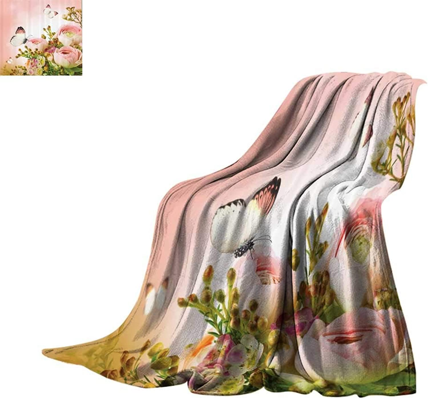 Cozy Flannel Blanket Floral Pink Decor,pinks and Flower Buds Leaves in Bouquet with Butterflies for Mothers Day Girls Print,Light Pink and Green Print Summer Quilt Comforter Bed or Couch 60 x35