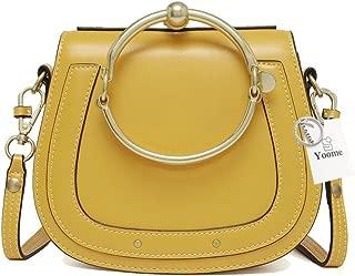 Yoome Cowhide Leather Top Handle Handbags Ring Purse Vintage Crossbody Shoulder Bags