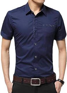 GAGA Men Fashion Short Sleeve Slim Fit Dress Shirt Regular Fit Oxford Solids