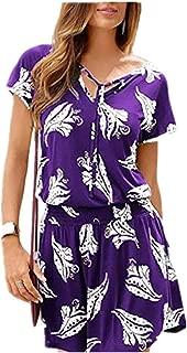 Moda Summer Dot Gradient Print sin Mangas con Cuello en V Casual Mini Vestido Beach Holiday Beach Falda