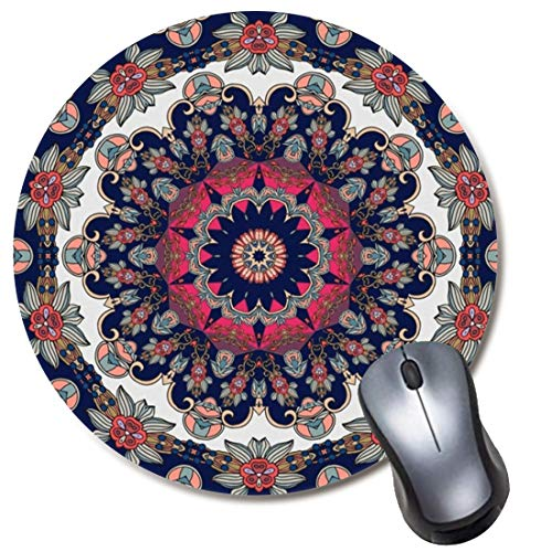 Round Gaming Mouse Pad Blossom Red Flower Mandala Mousepad for Computer,Funny Gift Non-Slip Mouse Mat