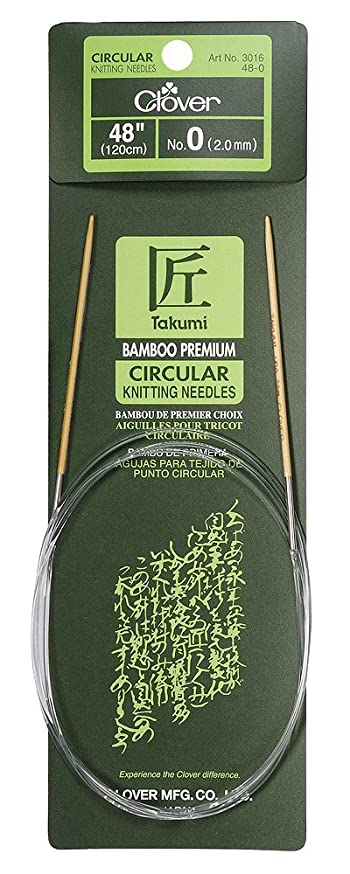 Clover Bamboo Circular Knitting Needles Takumi, 48-Inch Size 0