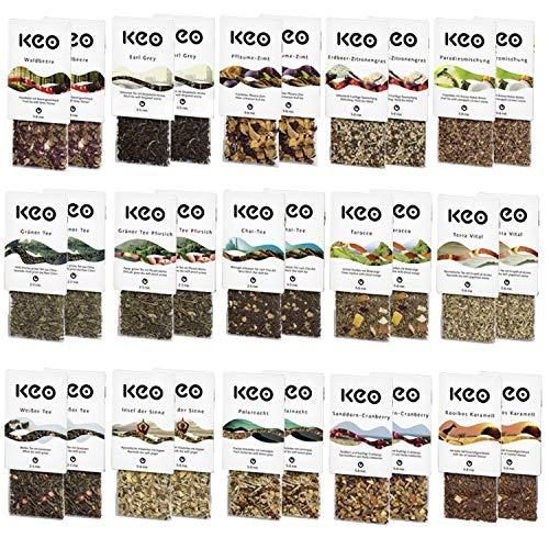 HIKITCHEN® KEO Tee Probierset - 30 Teachamps mit 15 verschiedenen Sorten - Keo Tee zum Probieren als Probierpaket
