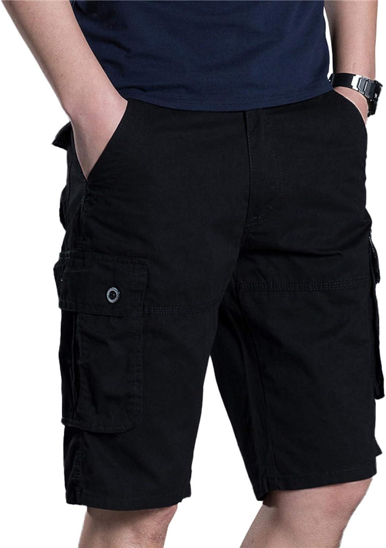 Men's Summer Loose Cargo Shorts Five-Point Pants Casual Plus Size Pants Multi-Pocket,Black,38