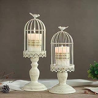 Sziqiqi Candeleros de Retro con Forma de Jaula de pájaro Decoraciones para la Mesa de Boda Decoraciones caladas de Hierr...