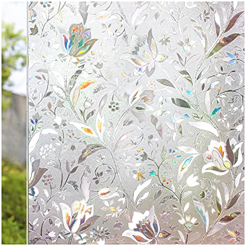 CottonColors Brand Privacy Window Film 35.4x78.7 Inches 3D Non Toxic Static Cling Decoration for Anti-UV Heat Control Energy Saving Glass Stickers