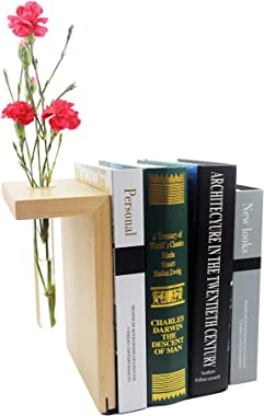 Wood bookends Decorative for Shelves - Swap Out The Flower with Seasons & Your Mood.Cute bookends for Bookshelf Decor&amp