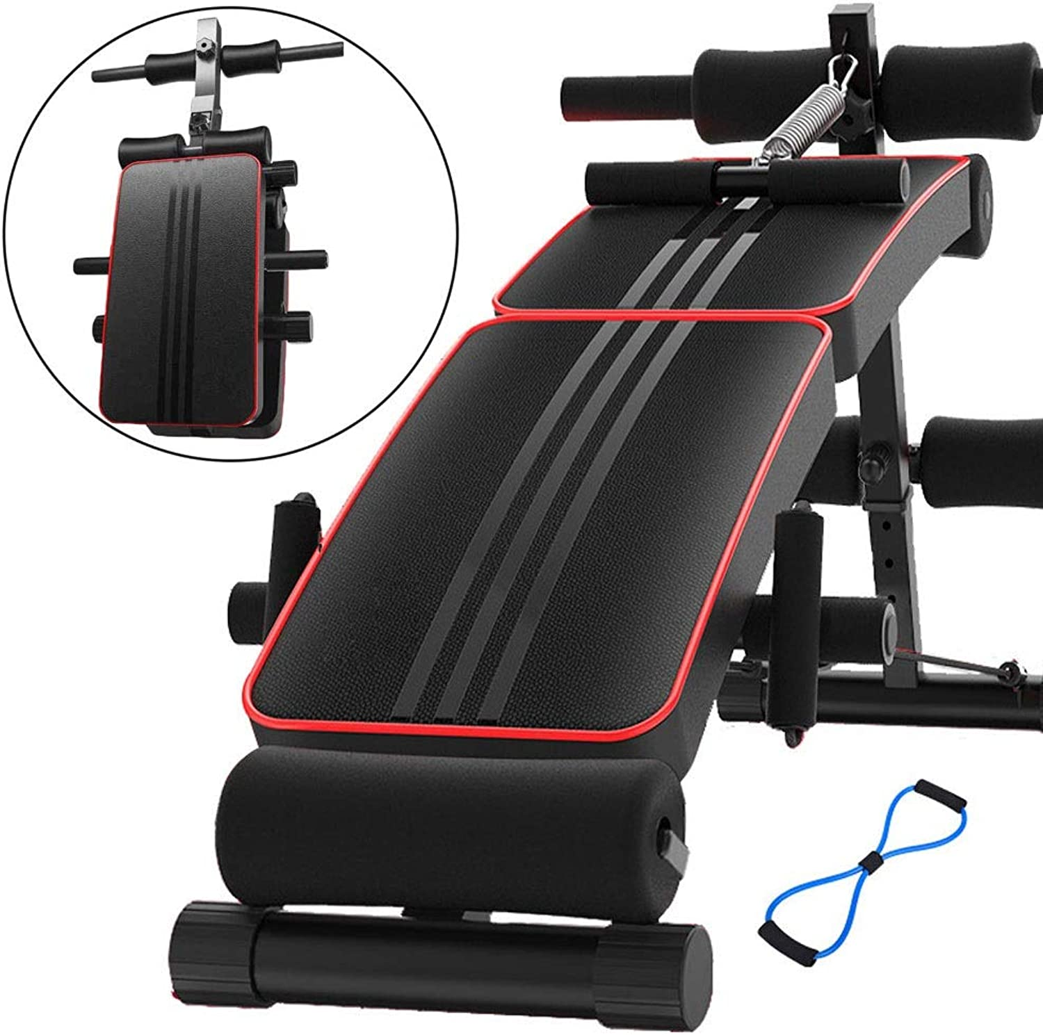 Gym Sit-up Bench Adjustable Weight Bench Exercise Table Reverse Crunch Handle for Exercise Abdominal Exercise Equipment Folding Kick Bench