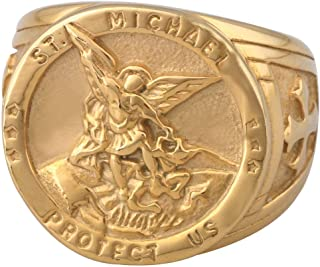Dacai Gold Silver Saints Michael The Archangel ST. Medal Stainless Steel Amulet Protection Mens Womens Cross Ring
