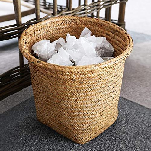 WW&TT Cubo De Basura Rústico Retro para Cocina Baño Oficina Sala De Estar,Cesta Redonda De Residuos Tejidos Mimbre D 26x26x26cm(10x10x10inch)