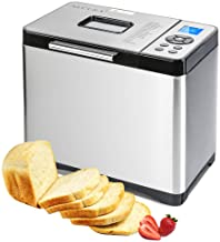 Secura Bread Maker Machine 2.2lb Stainless Steel Toaster Makers 650W Multi-Use Programmable 19 Menu Settings for Home Bakery (Silver Pearl)