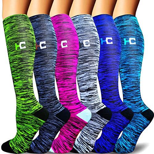 Sooverki Calcetines de compresión para Mujeres y Hombres 20-25 mmHg es el Mejor Graduado atlético, Correr, Volar, Viajar, Enfermeras 18-Multicolor-6 Pares L/XL
