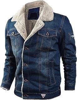 Goorape Men's Classic Fur Collar Button Denim Jacket Warm Sherpa Lined Jean Coats