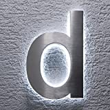 Hausnummer Edelstahl - indirekte LED-Beleuchtung - rostfrei & wetterfest - Spritzwassergeschützt -...
