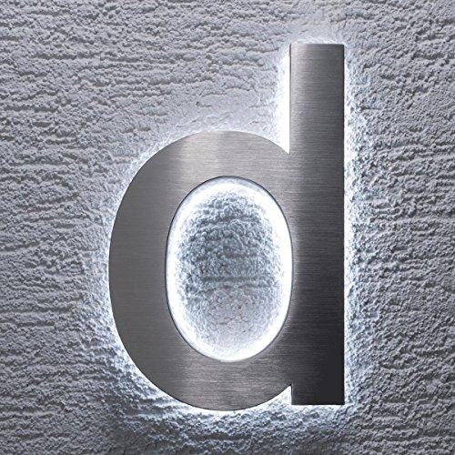 Hausnummer Edelstahl - indirekte LED-Beleuchtung - rostfrei & wetterfest - Spritzwassergeschützt - klassisches Design (d)