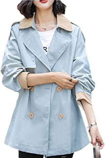 Women's Elegant Double Breasted Short Outdoor Belted Trench Coat Jacket
