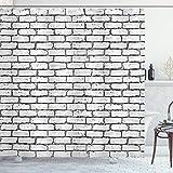 ABAKUHAUS Gris y Blanco Cortina de Baño, Wall ladrillo Retro, Material Resistente al Agua Durable Estampa Digital, 175 x 200 cm, Gris