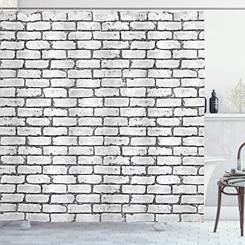 ABAKUHAUS Gris y Blanco Cortina de Baño, Wall ladrillo Retro, Material Resistente al Agua Durable Estampa Digital, 175 x 240 cm, Gris