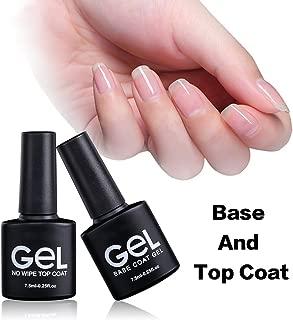 Base Coat and No Wipe Gel Top Coat Set, Renstom UV LED Soak Off Gel Nail Polish Kit with 2Pcs