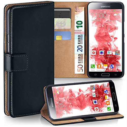 MoEx Premium Book-Case Handytasche kompatibel mit Samsung Galaxy S5 Mini | Handyhülle mit Kartenfach und Ständer - 360 Grad Schutz Handy Tasche, Schwarz