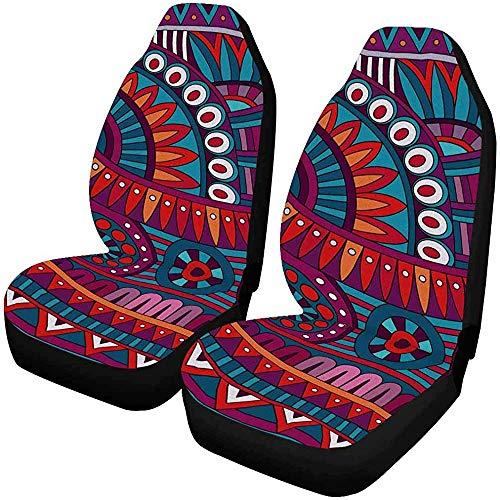 MOLLUDY Abstract Tribal Ethnic Vordersitzbezüge 2er-Set, Sitzkissen fürs Auto, passend für die meisten Fahrzeuge