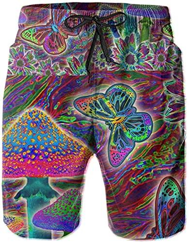 Pantalones Cortos De Playa Transpirables para Hombres Bañador Pantalones Cortos Mushroom Butterfly De Secado Rápido Adecuado para Surf De Verano Y Junto A La Piscina-XL