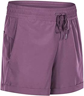 Loose Yoga Shorts Simple Fashion Elastic Waistband Running Fitness Sports Shorts,Pink(6)