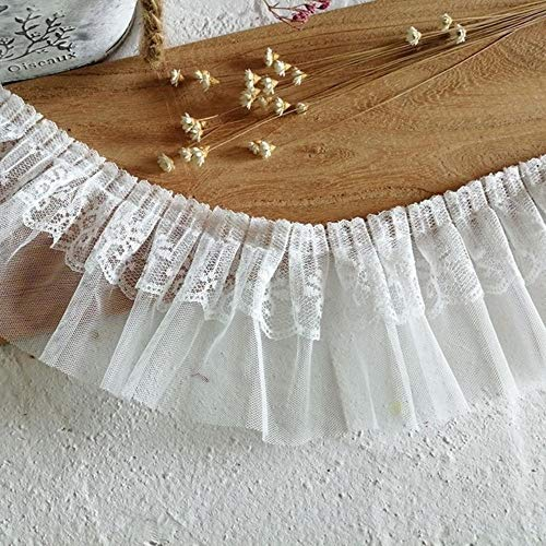 8 cm brede dubbele zachte tule geborduurde geplooide kant DIY dames pop trui hals manchetten zijbekleding trouwjurk accessoires, wit, 1 yard