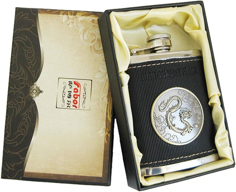 Kaiyitong01 Frasco de la cadera, regalo determinado de los hombres al aire libre del matraz de la cadera de la onza de la onza de la cadera del negro 304 del acero inoxidable 304